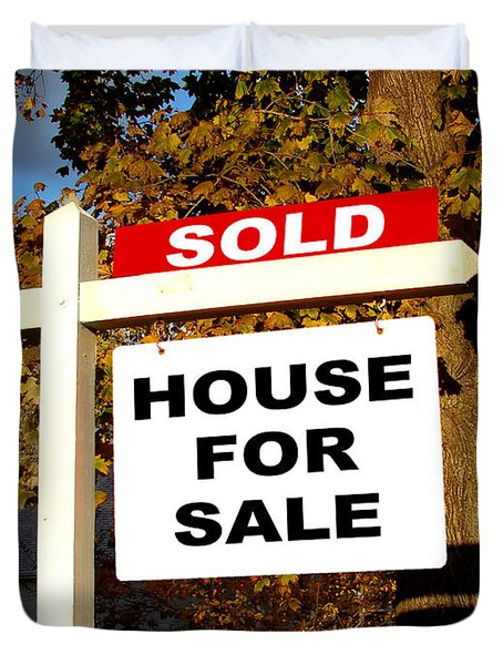 Real Estate Sold And House For Sale Sign On Post Duvet Cover