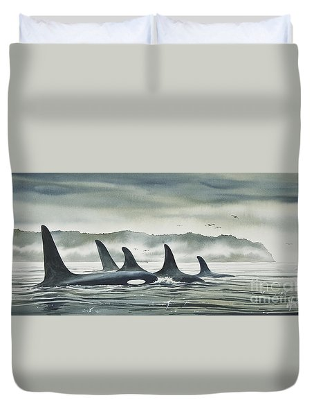 Realm Of The Orca Duvet Cover by James Williamson