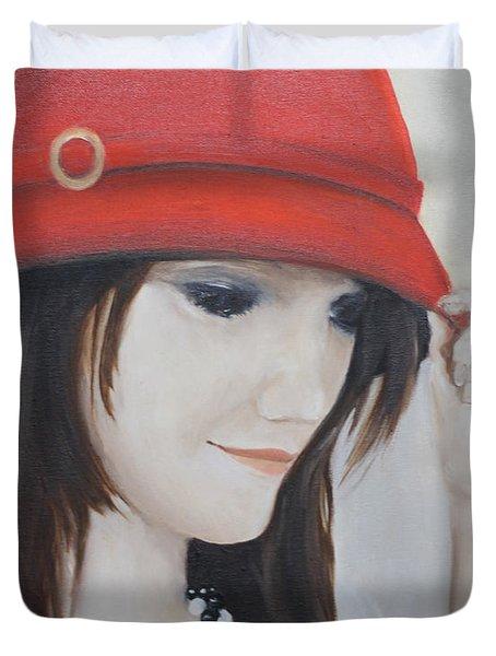 Rebecca's Red Hat Duvet Cover
