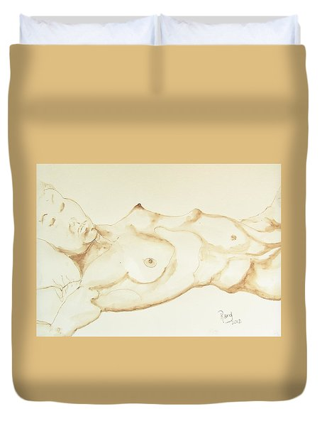 Duvet Cover featuring the drawing Reclining Nude In Walnut Ink by Rand Swift