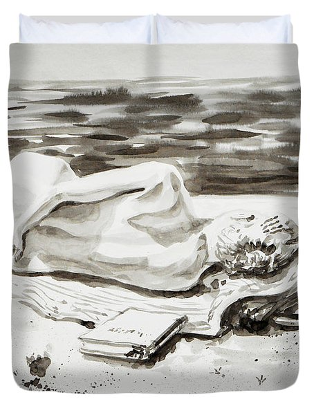 Reclining Nude Study Resting At The Beach Duvet Cover