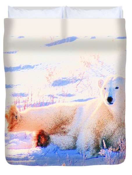 Reclining Polar Bear Duvet Cover
