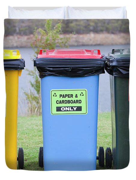 Recycling Bins In Jindabyne, Snowy Duvet Cover
