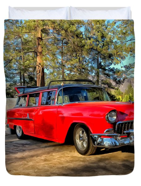 Red '55 Chevy Wagon Duvet Cover by Michael Pickett
