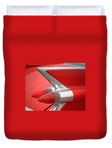 Red '59 Caddy Tail Duvet Cover
