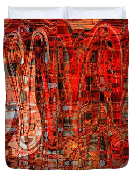 Red Abstract Panel Duvet Cover by Carol Groenen