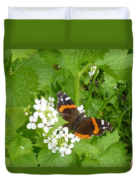 Duvet Cover featuring the photograph Red Admiral Butterfly by Lingfai Leung