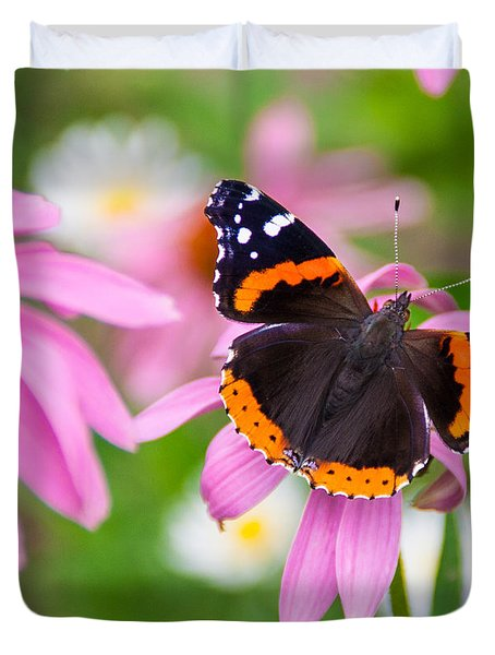 Red Admiral Butterfly Duvet Cover by Patti Deters