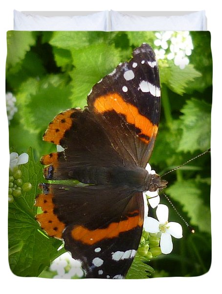 Duvet Cover featuring the photograph Red Admiral In Toronto by Lingfai Leung