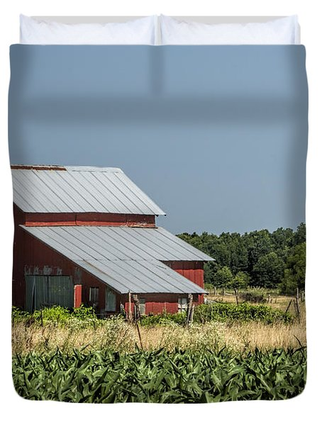 Red Amish Barn And Corn Fields Duvet Cover by Kathy Clark