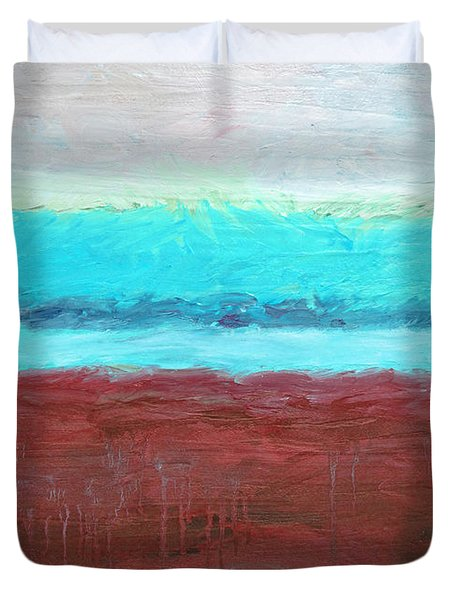 Red And Aqua Get Married Duvet Cover by Michelle Calkins