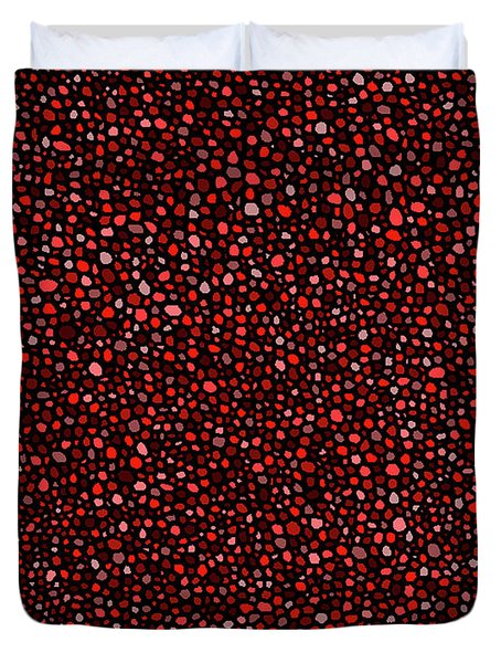 Red And Black Circles Duvet Cover