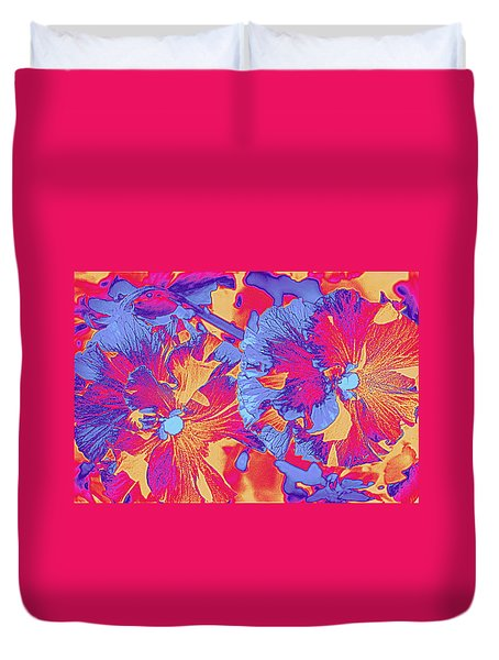 Red And Blue Pansies Pop Art Duvet Cover by Dora Sofia Caputo Photographic Art and Design