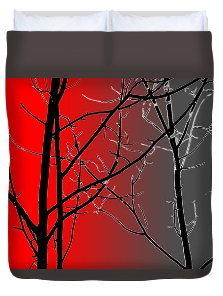 Red And Gray Duvet Cover