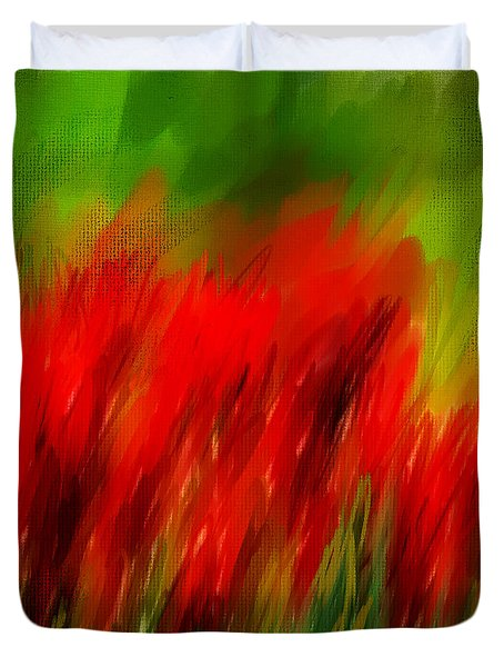 Red And Green Duvet Cover by Lourry Legarde