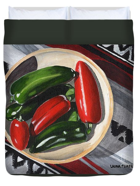 Red And Green Peppers Duvet Cover by Laura Forde