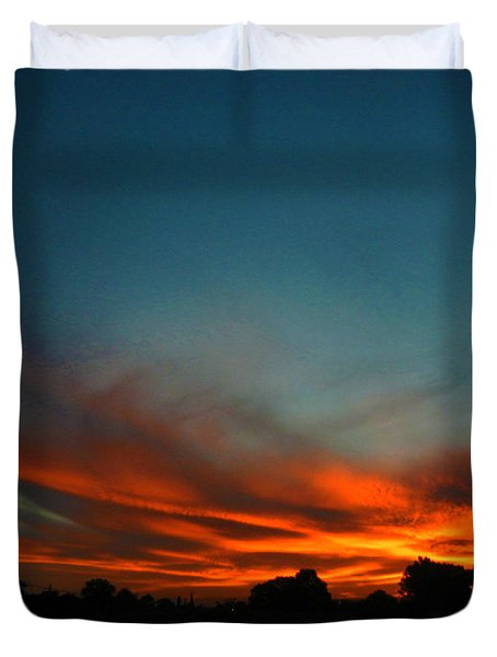 Red And Green Sunset Duvet Cover by Mark Blauhoefer