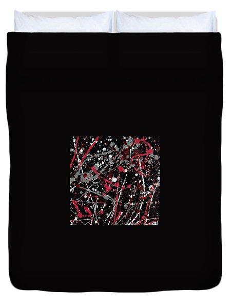 Red And Grey Paint Splatter I Duvet Cover