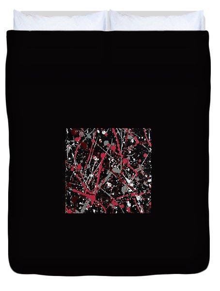 Red And Grey Paint Splatter II Duvet Cover