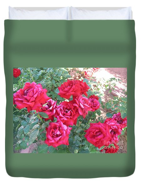Duvet Cover featuring the photograph Red And Pink Roses by Chrisann Ellis
