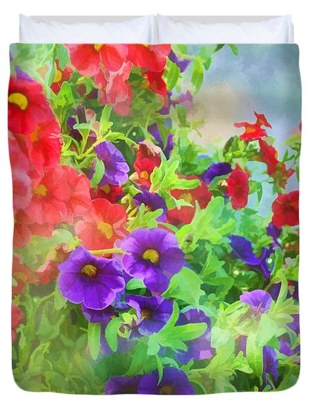 Red And Purple Calibrachoa - Digital Paint I Duvet Cover