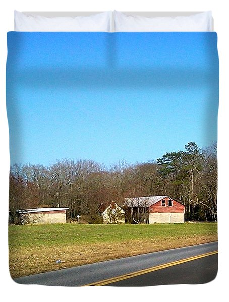 Red And White Barn With Trees Duvet Cover