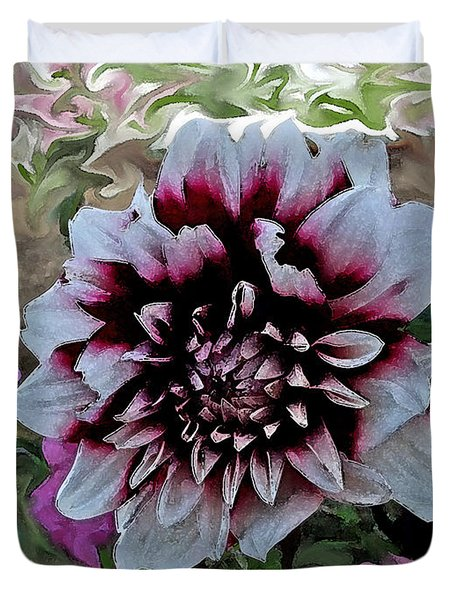 Red And White Dahlia  Duvet Cover