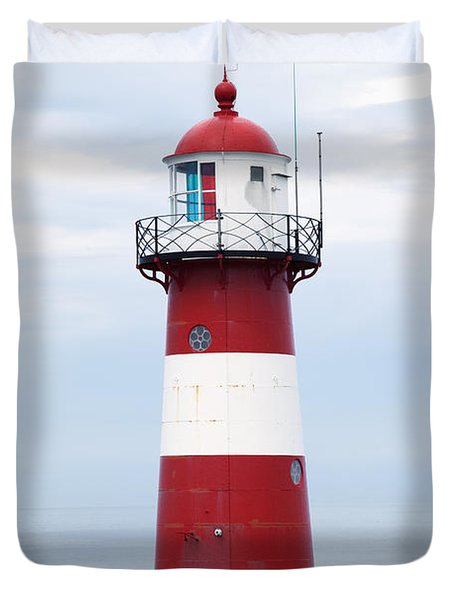 Red And White Lighthouse Duvet Cover by Peter Zoeller