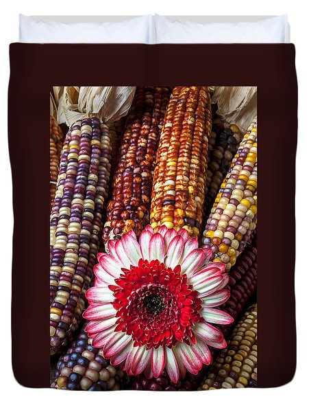 Red And White Mum With Indian Corn Duvet Cover by Garry Gay