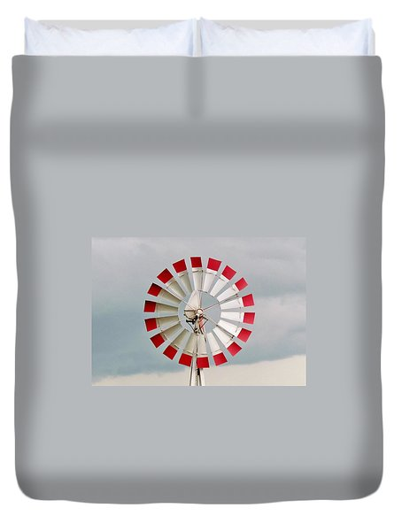 Duvet Cover featuring the photograph Red And White Windmill by Cynthia Guinn