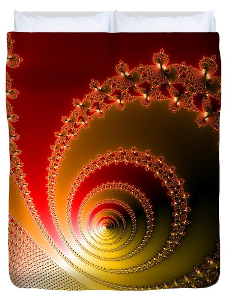 Red And Yellow Abstract Fractal Duvet Cover by Matthias Hauser