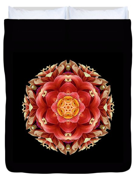 Red And Yellow Dahlia IIi Flower Mandala Duvet Cover by David J Bookbinder