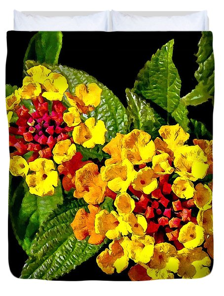 Red And Yellow Lantana Flowers With Green Leaves Duvet Cover