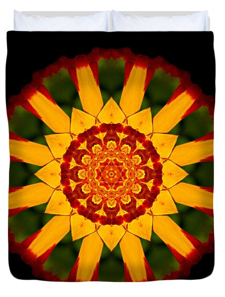 Red And Yellow Marigold V Flower Mandala Duvet Cover by David J Bookbinder