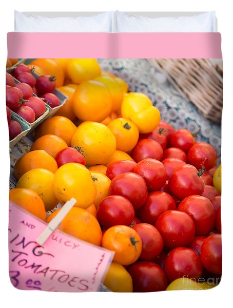 Red And Yellow Tomatoes Closeup Duvet Cover