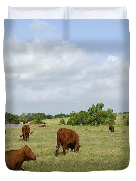 Duvet Cover featuring the photograph Red Angus Cattle by Charles Beeler