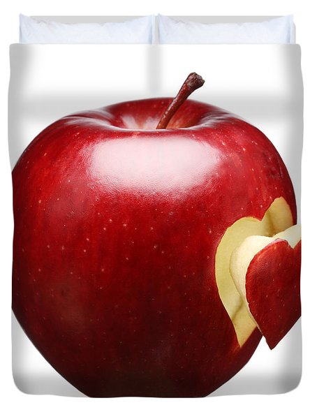 Red Apple With Heart Duvet Cover