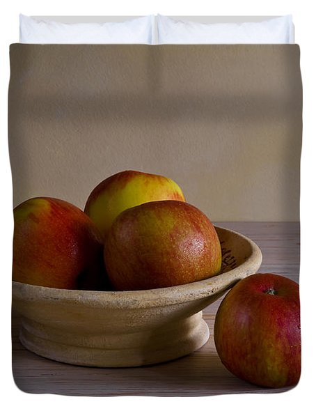 Duvet Cover featuring the photograph Red Apples by Trevor Chriss