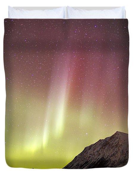 Red Aurora Borealis Over Carcross Duvet Cover by Joseph Bradley