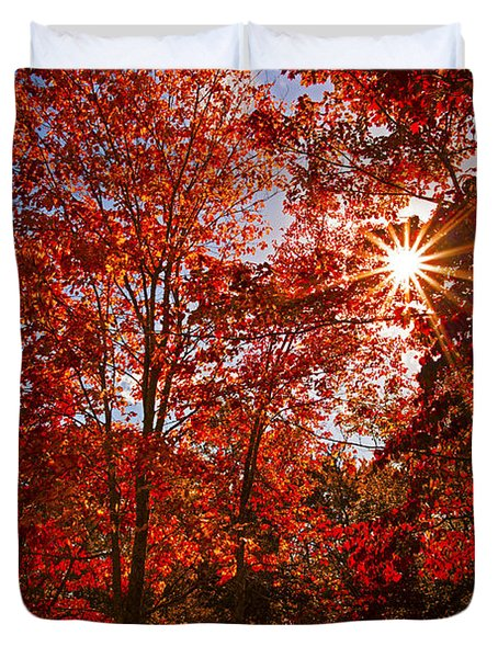Duvet Cover featuring the photograph Red Autumn Leaves by Jerry Cowart
