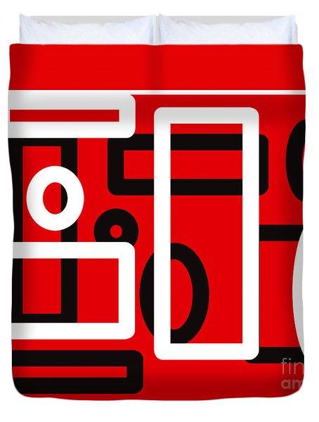 Red Back And White Design Duvet Cover