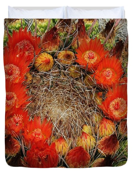 Duvet Cover featuring the photograph Red Barell Cactus Flowers by Tom Janca