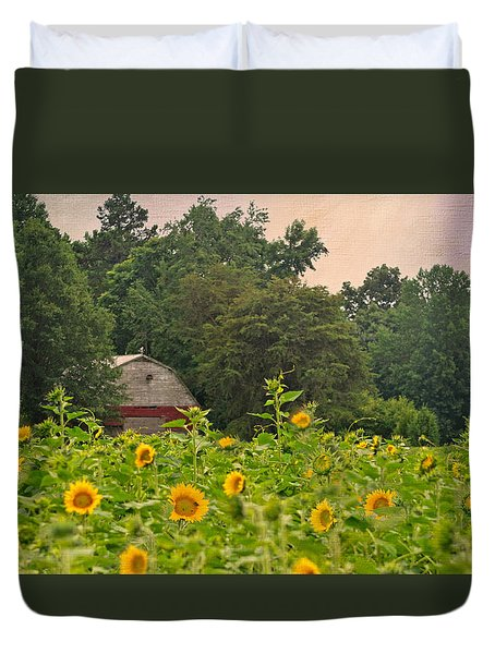 Red Barn Among The Sunflowers Duvet Cover by Sandi OReilly