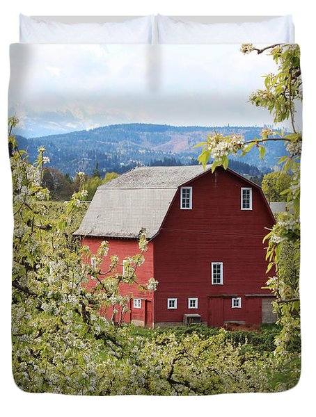 Duvet Cover featuring the photograph Red Barn And Apple Blossoms by Patricia Babbitt
