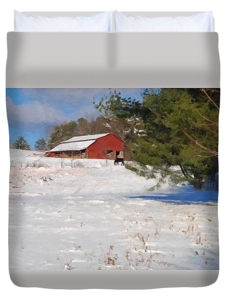 Red Barn And Horses In The Snow Duvet Cover