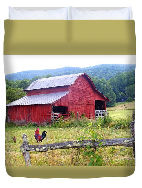 Red Barn And Rooster Duvet Cover