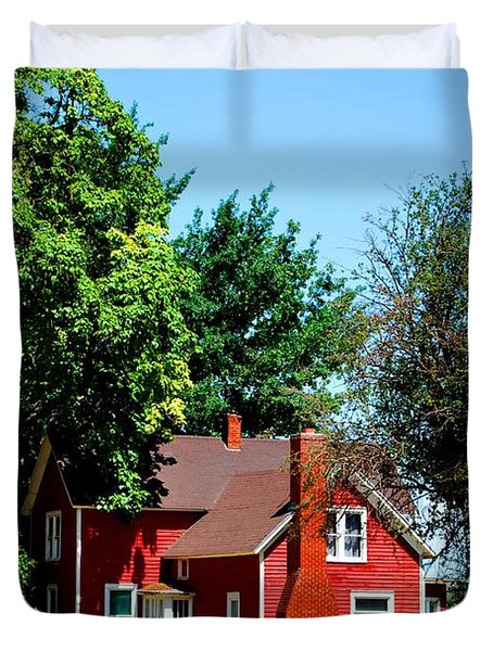 Duvet Cover featuring the photograph Red Barn And Trees by Matt Harang