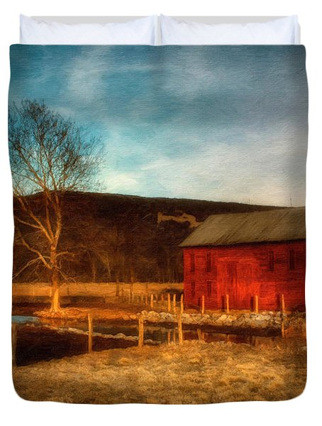 Red Barn At Twilight Duvet Cover by Lois Bryan