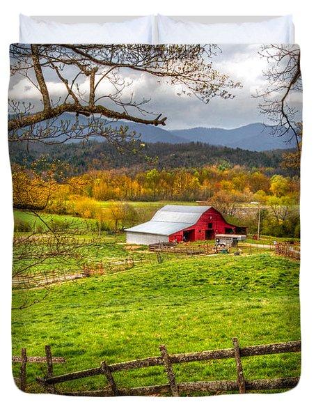 Red Barn Duvet Cover by Debra and Dave Vanderlaan
