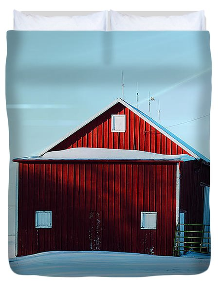 Red Barn During Illinois Winter Duvet Cover by Luther Fine Art